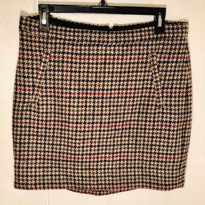 J.Crew 100% Wool Houndstooth Pencil Skirt Size 6